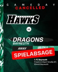 spielabsage hawks @ dragons